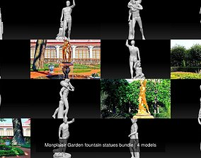 3D model Monplaisir Garden fountain statues bundle