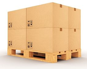Pallet with boxes 3D model