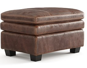 Old Leather Ottoman 3D model