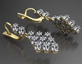 MGold026 Romb Earrings whit Diamonds 3dmodel 3D print