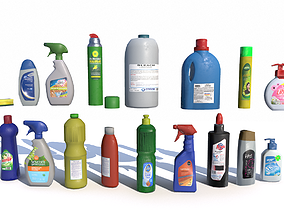 3D model low-poly Cleaning Products PBR