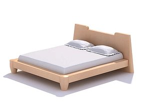 Light Wooden Bed With Headboard 3D