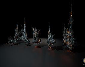 Spiky Lava Rocks set 1 3D asset