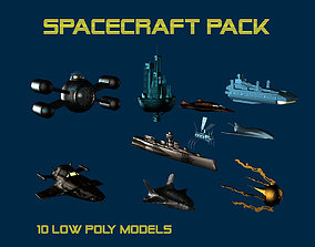 3D model game-ready 10 Low Poly spacecrafts