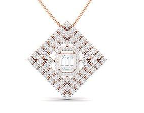 Women square pendant 3dm stl render detail square-pendant
