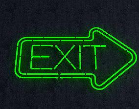 3D Exit Neon Sign