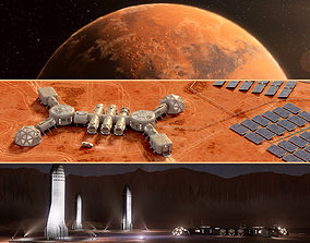 3D model Martian base colony in the crater and entire 1