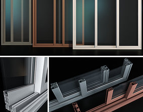 Sliding Stained Glass Aluminum Doors 3D