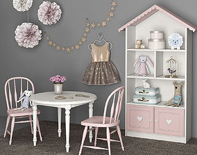 Furniture and accessories for girls room 12 3D model