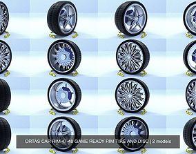 3D model ORTAS CAR RIM 47-48 GAME READY RIM TIRE AND DISC