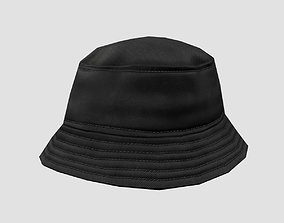 3D model realtime Bucket hat - black