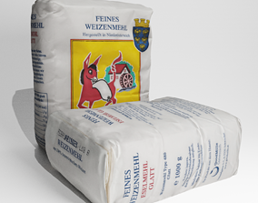 Small 1kg paper paper sack of flour 3d scan PBR