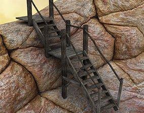 wood stair 3D model