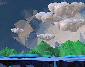 Low Polygon Art Green Waterfall Island Mountain 3D