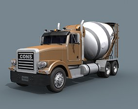 Fine Cement Truck - 3d animated mixer model animated