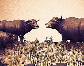 3D model buffalo scene