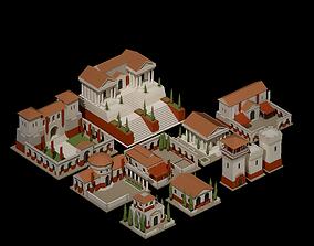 3D asset Low Poly Roman Building Tiles