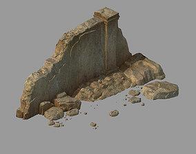grassland 3D model damaged Mud wall 01