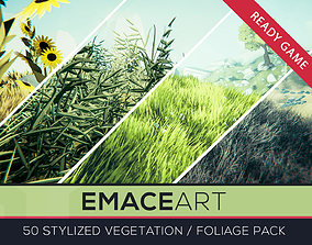 Stylized Vegetation Foliage Grass and Flower Pack 3D model