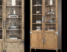 CAYDEN CAMPAIGN GLASS DOUBLE-DOOR SIDEBOARD and HUTCH 3D