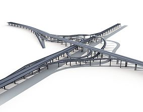Highway Viaduct flyover 3D model
