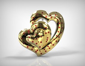 Golden Earring Heart Shaped Jewelry 3D printable model