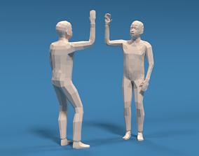 Low Poly Kids High Five Hands 3D model