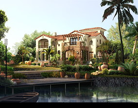 Exotic Villa Design with Front Yard 3D