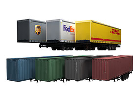 3D asset realtime Semi trailers set