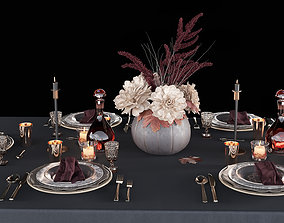 3D Table setting with bouquet
