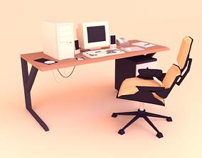 Low Poly Computer Desk 3D model
