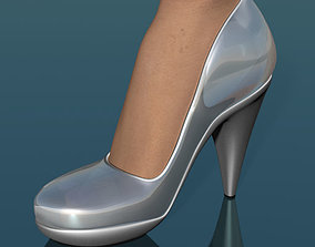 Glass shoes low poly simplified 3D asset
