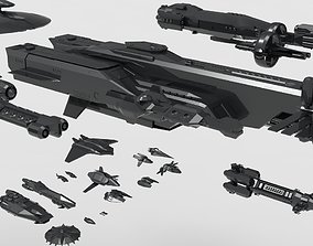 3D asset low poly spaceship pack
