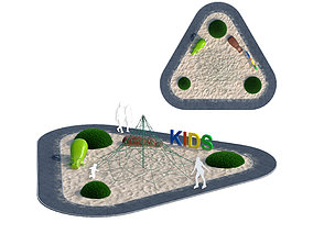3D model Children playground with rope web