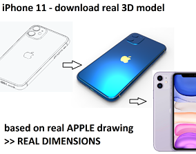 3D model iPhone 11 - real dimensions