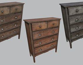Large Old Wooden Dresser PBR 3D model
