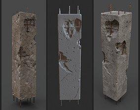 3D asset OLD DAMAGED PILLAR