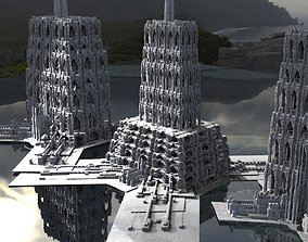 3D model Fantasy gothic towers surreal Kitbash