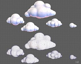 Clouds cartoon V01 3D asset low-poly