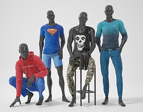 Male mannequins with clothes Relaxed posture 3D