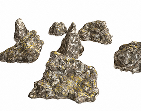 Small rocks pack with lichen PBR 3D asset