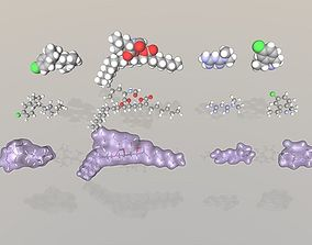 Collection of anti-obesity drug molecules 3D model