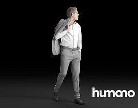 Humano Elegant Man with jacket flipped over shoulder 3D