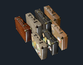 Suitcase Luggage Pack Game Ready 3D asset