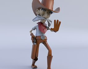 3D asset rigged Cartoon Old Cowboy Character
