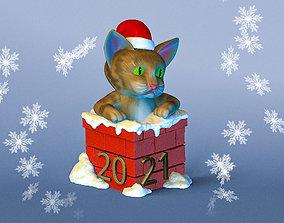 Cat in Chimney Christmas souvenir 3D printable model