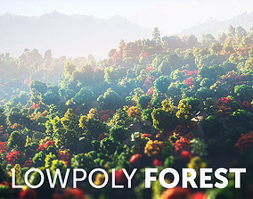 Low Poly Forest Summer Autumn Winter Stylish 3D model
