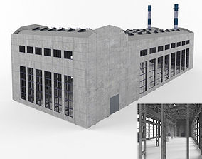Industrial Factory building exterior and interior high 3D