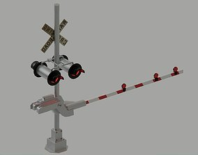 Railroad Level crossing with lights US Railway 3D