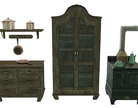 Low Poly Victorian Kitchen Set 3D model VR / AR ready